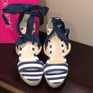 Striped Wedge in Navy & Wipe - Size 9.5